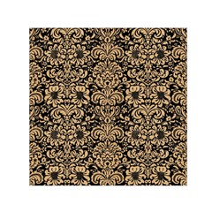 Damask2 Black Marble & Natural White Birch Wood Small Satin Scarf (square)