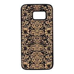 Damask2 Black Marble & Natural White Birch Wood Samsung Galaxy S7 Black Seamless Case