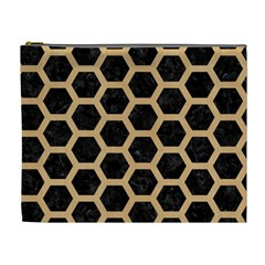 Hexagon2 Black Marble & Natural White Birch Wood Cosmetic Bag (xl)