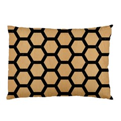 Hexagon2 Black Marble & Natural White Birch Wood (r) Pillow Case (two Sides)