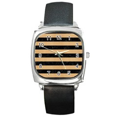 Stripes2 Black Marble & Natural White Birch Wood Square Metal Watch