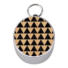 Triangle2 Black Marble & Natural White Birch Wood Mini Silver Compasses