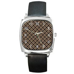 Woven2 Black Marble & Natural White Birch Wood Square Metal Watch