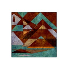 Turquoise And Bronze Triangle Design With Copper Satin Bandana Scarf