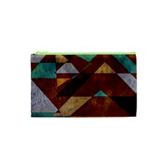 Turquoise And Bronze Triangle Design With Copper Cosmetic Bag (xs)