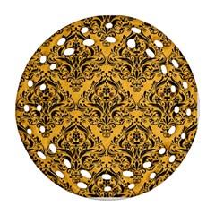 Damask1 Black Marble & Orange Colored Pencil (r) Ornament (round Filigree)