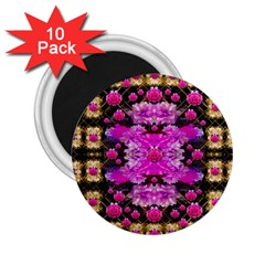 Flowers And Gold In Fauna Decorative Style 2 25  Magnets (10 Pack)
