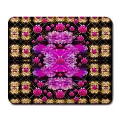Flowers And Gold In Fauna Decorative Style Large Mousepads