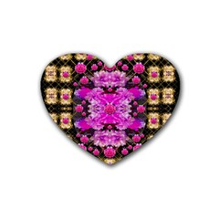 Flowers And Gold In Fauna Decorative Style Heart Coaster (4 Pack)