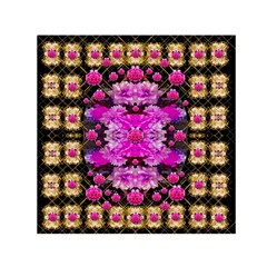 Flowers And Gold In Fauna Decorative Style Small Satin Scarf (square)