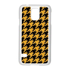 Houndstooth1 Black Marble & Orange Colored Pencil Samsung Galaxy S5 Case (white)