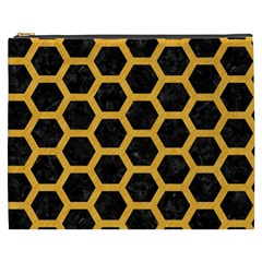 Hexagon2 Black Marble & Orange Colored Pencil Cosmetic Bag (xxxl)