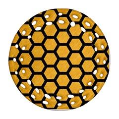 Hexagon2 Black Marble & Orange Colored Pencil (r) Ornament (round Filigree)