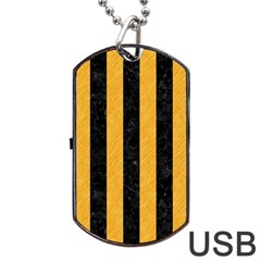 Stripes1 Black Marble & Orange Colored Pencil Dog Tag Usb Flash (one Side)