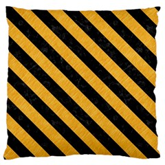 Stripes3 Black Marble & Orange Colored Pencil (r) Large Flano Cushion Case (two Sides)