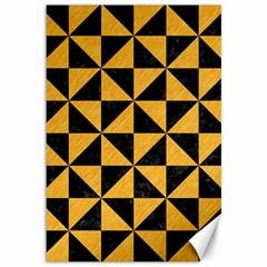 Triangle1 Black Marble & Orange Colored Pencil Canvas 12  X 18