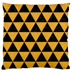 Triangle3 Black Marble & Orange Colored Pencil Large Flano Cushion Case (two Sides)
