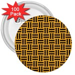 WOVEN1 BLACK MARBLE & ORANGE COLORED PENCIL (R) 3  Buttons (100 pack)  Front