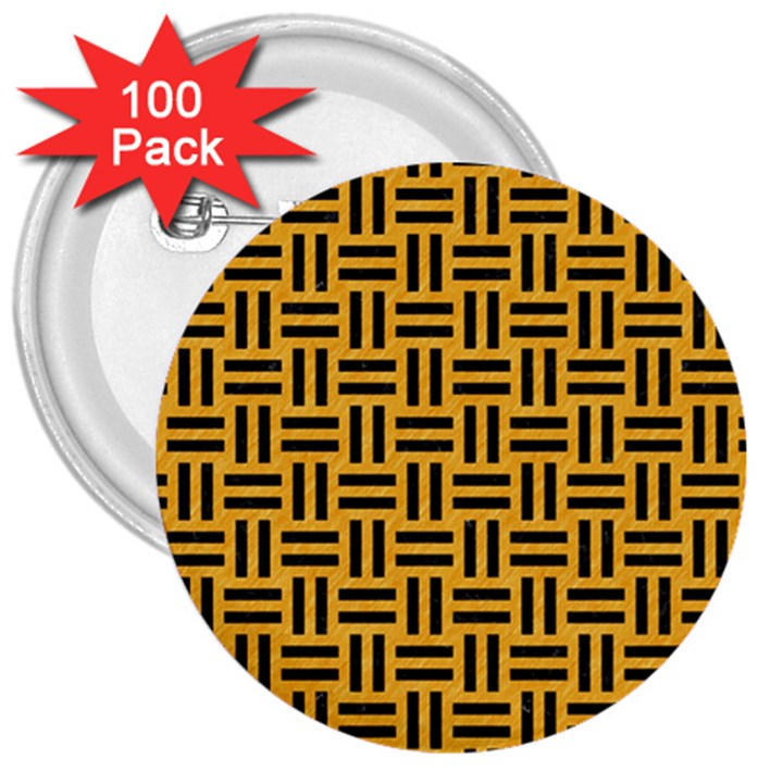 WOVEN1 BLACK MARBLE & ORANGE COLORED PENCIL (R) 3  Buttons (100 pack)