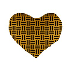 Woven1 Black Marble & Orange Colored Pencil (r) Standard 16  Premium Heart Shape Cushions