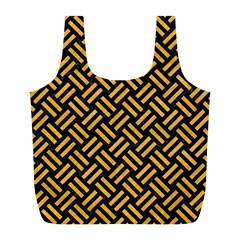 Woven2 Black Marble & Orange Colored Pencil Full Print Recycle Bags (l)