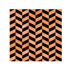 Chevron1 Black Marble & Orange Watercolor Small Satin Scarf (square)