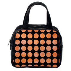 Circles1 Black Marble & Orange Watercolor (r) Classic Handbags (one Side)