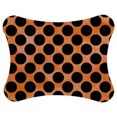 Circles2 Black Marble & Orange Watercolor Jigsaw Puzzle Photo Stand (bow)