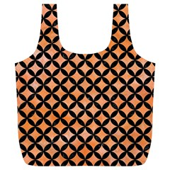 Circles3 Black Marble & Orange Watercolor Full Print Recycle Bags (l)