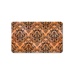 Damask1 Black Marble & Orange Watercolor Magnet (name Card)