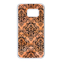 Damask1 Black Marble & Orange Watercolor Samsung Galaxy S7 White Seamless Case