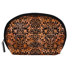 Damask2 Black Marble & Orange Watercolor Accessory Pouches (large)