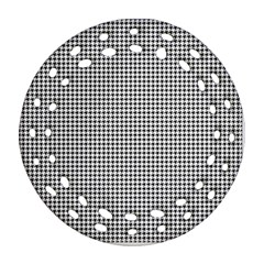 Classic Vintage Black And White Houndstooth Pattern Ornament (round Filigree)