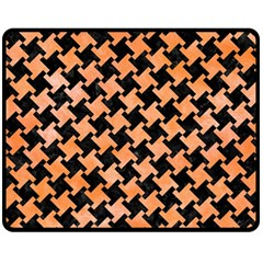 Houndstooth2 Black Marble & Orange Watercolor Fleece Blanket (medium)