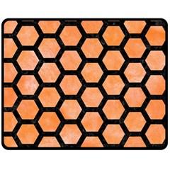Hexagon2 Black Marble & Orange Watercolor Fleece Blanket (medium)