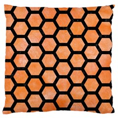 Hexagon2 Black Marble & Orange Watercolor Large Flano Cushion Case (one Side)