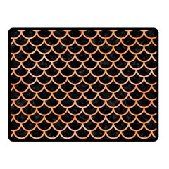 Scales1 Black Marble & Orange Watercolor (r) Double Sided Fleece Blanket (small)