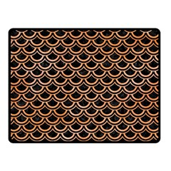Scales2 Black Marble & Orange Watercolor (r) Double Sided Fleece Blanket (small)