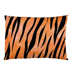 Skin3 Black Marble & Orange Watercolor Pillow Case (two Sides)