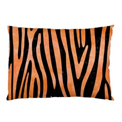 Skin4 Black Marble & Orange Watercolor Pillow Case (two Sides)