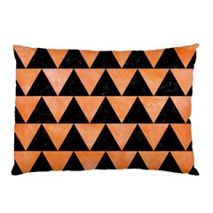 Triangle2 Black Marble & Orange Watercolor Pillow Case (two Sides)