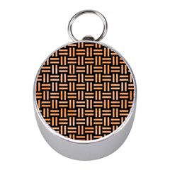Woven1 Black Marble & Orange Watercolor (r) Mini Silver Compasses