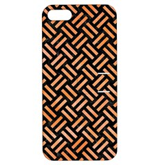 Woven2 Black Marble & Orange Watercolor (r) Apple Iphone 5 Hardshell Case With Stand