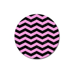 Chevron3 Black Marble & Pink Colored Pencil Magnet 3  (round)