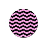 CHEVRON3 BLACK MARBLE & PINK COLORED PENCIL Magnet 3  (Round) Front