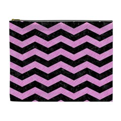 Chevron3 Black Marble & Pink Colored Pencil Cosmetic Bag (xl)