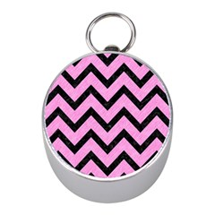 Chevron9 Black Marble & Pink Colored Pencil Mini Silver Compasses