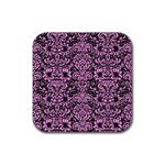 DAMASK2 BLACK MARBLE & PINK COLORED PENCIL (R) Rubber Square Coaster (4 pack)  Front
