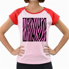 Skin4 Black Marble & Pink Colored Pencil Women s Cap Sleeve T Shirt
