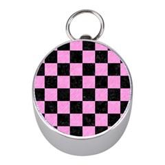Square1 Black Marble & Pink Colored Pencil Mini Silver Compasses